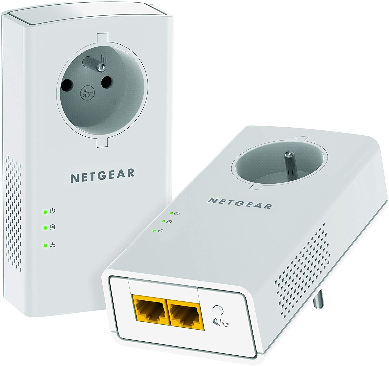 NETGEAR PLP2000-100FRS Pack de 2 prises CPL 2000 Mbps avec Prise filtrée et 2 Ports Ethernet, Compatibles avec tous les Anciens Modèles
