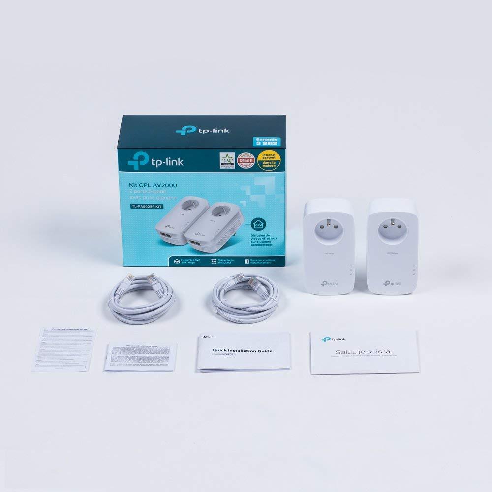 TP-Link CPL 2000 Mbps avec 2 Ports Ethernet Gigabit et Prise Intégrée, Kit de 2 - Solution idéale pour profiter du service Multi-TV